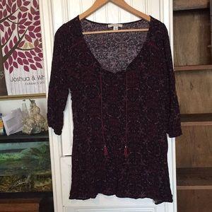 Black and burgundy peasant dress